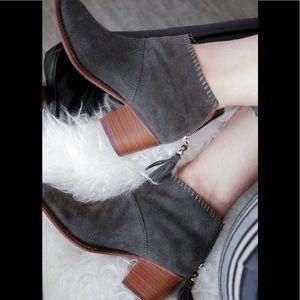 Toms grey suede Leila tassel  stacked heel bootie